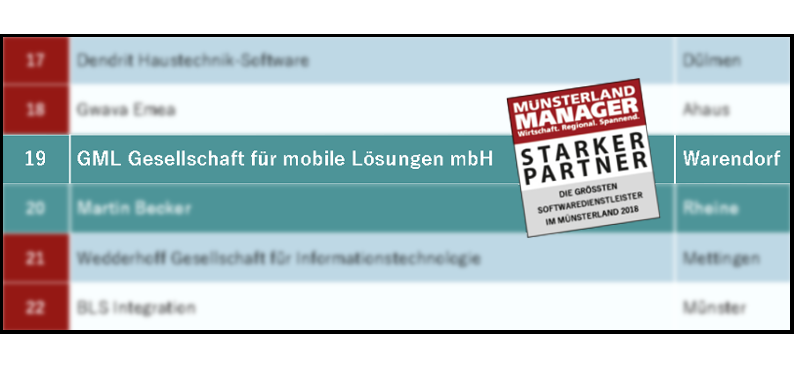 GML auf Platz 19 der größten Softwarehersteller im Münsterland