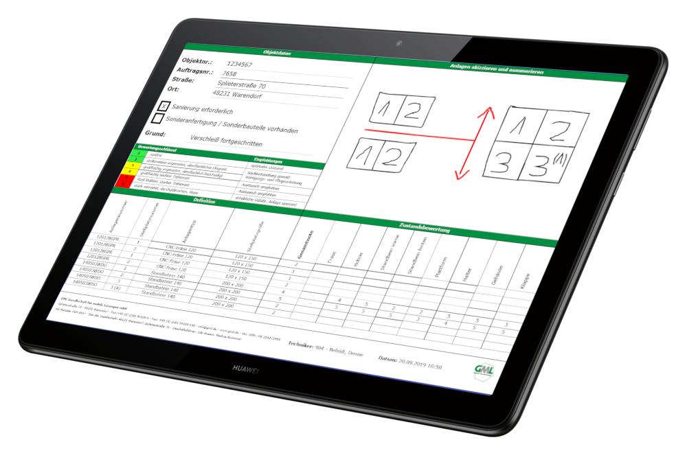 Das digitale Aufnahmeformular für eine optimierte Zustandsbeurteilung von Anlagen via 2Bmobil*Service